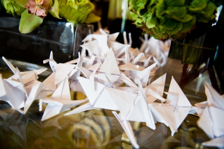 These white cranes were scattered in random places throughout the reception site.  Angel had heard about the Japanese wedding tradition of folding 1000 cranes as a gift to the fiance to wish them 1000 years of happiness and prosperity.  Angel thought this would be a delightful addition to Sharon and Dean's decor.