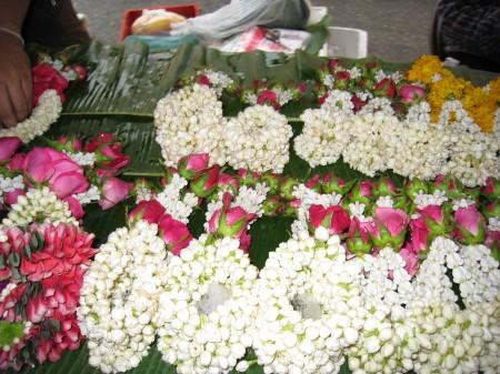 Hand-strung jasmine garlands.
