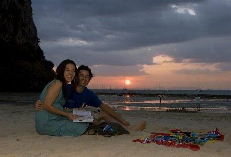 Sunset on Railey beach.