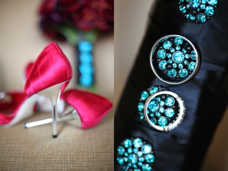 """Wowsers, check out those shoes on the left!  You can see her red and black bouquet in the background.  She wanted """"tasteful bling"""" on her bouquet wrap- these precious teal rhinestone buttons did the trick!"""