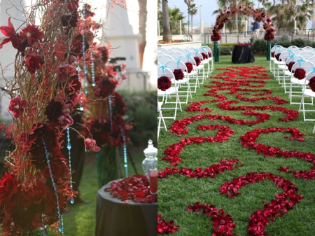 This was an incredible scene- Two huge vases full of blue water supported an arch of tangled curly willow, accented with striking red flowers and dangling aqua crystals.  The swirly aisle went from dark red (black baccara roses), to medium red (black magic roses), to bright red (freedom roses).