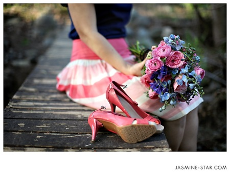Delphinium, garden roses, and ranunculus.  Shoes from target.  Haha!