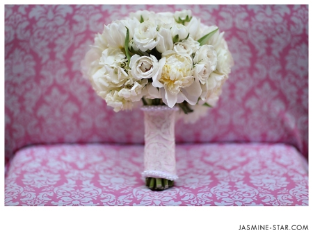 a classic creamy bouquet of peonies, english roses, ranunculus, and then some.