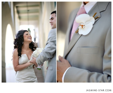 Steven wore a single phaleonopsis orchid with curly willow twigs.