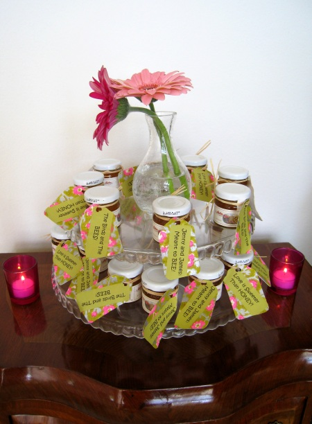 Organic, all natural honey jars served as favors!  Jenny uses honey and agave nectar instead of processed sugar.   One super yummy appetizer we served was fresh strawberries dipped in creme fraich mixed with agave nectar. It is just delightful!