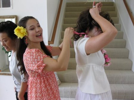 When the bride arrived, I gave her a fresh lei of pink spray roses.  The bridesmaids all wore roses from my garden in our hair.