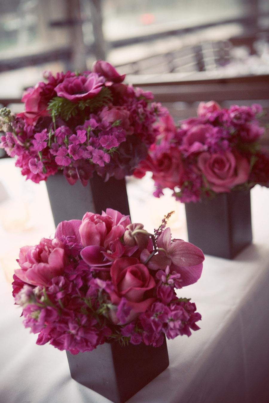 Pink Vase Centerpiece : A sleek magenta wedding the treasured petal
